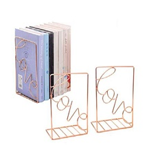 metal bookends 1 pair, love sign modern decorative bookend bookshelf, vertical folder, magazine storage rack & #40;rose gold& #41; love-rose gold