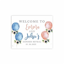 custom large baby shower canvas welcome sign, 16 x 20 inches, watercolor gender reveal balloons, guestbook alternative, personalized sign our canvas, for gender reveal party Watercolor Gender Reveal Balloons,One-Size