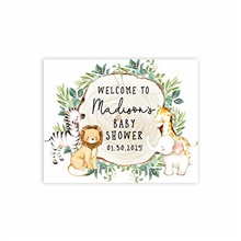 custom large baby shower canvas welcome sign, 16 x 20 inches, rustic greenery safari animals, guestbook alternative, personalized sign our canvas, for jungle safari baby shower, sprinkle Rustic Greenery Safari Animals,One-Size