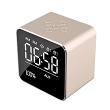 Mirror V9 Bluetooth Speaker Wireless Mini Phone Alarm Clock Audio Multifunctional Subwoofer Gift Golden