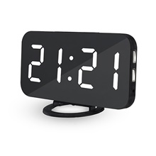 Alarm Clock Digital Electronic Smart Mechanical LED Display Time Table Desk 2 USB Charger Ports For Iphone Android Mirror Snooze White