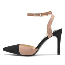 Women's Sandals Stiletto Heel Pointed Toe Sexy Daily PU Color Block Summer Pink Gray Pink,US5 / EU35 / UK3 / CN34