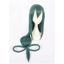 My Hero Academia Boko No Hero Asui Tsuyu Cosplay Wigs Women's With Bangs With Ponytail 28 inch Heat Resistant Fiber Straight Green Teen Adults' Anime Wig Green,Adult,Average