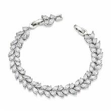 wedding bridal bracelet for brides, cubic zirconia classic tennis bracelet for women jewelry gift, silver One-Size