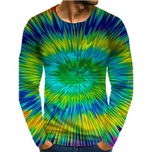 Men's 3D Graphic optical illusion Plus Size T-shirt Print Long Sleeve Daily Tops Round Neck Rainbow / Sports Rainbow,M