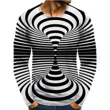 Men's 3D Graphic optical illusion Plus Size T-shirt Print Long Sleeve Daily Tops Round Neck Black / White / Sports Black / White,M