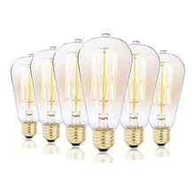 6pcs 3pcs 1pc ST58 Incandescent Vintage Edison Light Bulb 40W E27  Retro Dimmable Antique Tungsten 220-240V for Home Hotel Bistro Warm White,220-240V,E26 / E27,1
