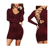 women's long sleeve glitter sequin lace up club bodycon mini party dress black s Wine,S