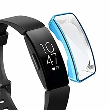 tpu case for fitbit inspire/inspire hr full coverage plating tpu watch case(black). (color : blue) One Color,One-Size