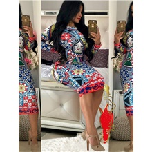 women elegant long sleeve dress - sexy stretchy african floral bodycon midi dress for women 1874-10 multicolor,Mass customization contact customer service