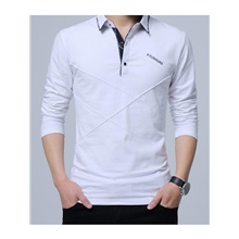 Men's Polo T shirt Other Prints Solid Colored Letter Long Sleeve Daily Tops Cotton Basic White Black Red White,L