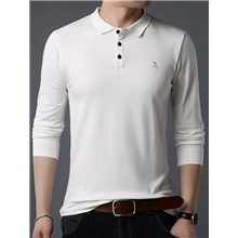 Men's Polo T shirt non-printing Solid Colored Long Sleeve Daily Tops Cotton Business Basic White Black Blue / Work White,L