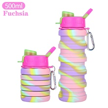 Kettle Water Bottle 500000 ml Silica Gel PP Portable Foldable Lovely for Hiking Outdoor Exercise Camping / Hiking / Caving 1 pcs Fuchsia Blue Pink Dark Blue Fuchsia