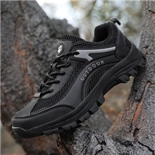 Men's Hiking Shoes Anti-Slip Breathable Wearable Comfortable Hiking Outdoor Exercise Spring &  Fall Summer Black Khaki Black,49