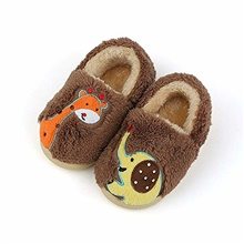 toddler boys & girls cute dinosaur slippers, kids winter house shoes