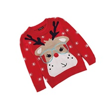 Kids Toddler Boys' Active Deer Striped Animal Christmas Print Long Sleeve Sweater & Cardigan Red Red,2-3 Years(100cm)