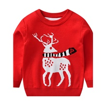 Kids Boys' Active Basic Deer Santa Claus Fantastic Beasts Animal Christmas Ruched Lace up Long Sleeve Sweater & Cardigan Red Red,2-3 Years(100cm)