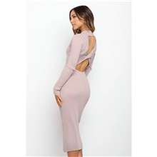 women's long sleeve open back cable knited sweater slim fit bodycon party midi dress green s Pink,S