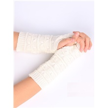 Women's 1 Pair Lady Fingerless Gloves - Solid Colored White,1 pair,One-Size