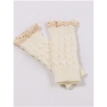 Women's 1 Pair Lady Half Finger Gloves - Solid Colored White,1 pair,One-Size