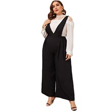 Women's Ordinary Black Jumpsuit Solid Colored Patchwork Black,XL