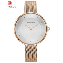 women watches rose gold fashion ladies stainless steel wristwatch big face tiny mesh band birthday gift Rose gold shell white noodles