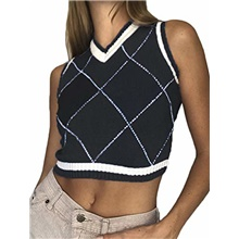 girls women's preppy style argyle sweater vest v neck knitted crop tank top vintage knitwear waistcoat (bc # black, l) Spot around October 7,S