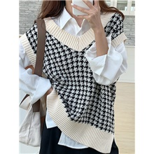 women's oversized plaid v neck sweater vest uniform cable knit sleeveless sweater chic tops Photo Color,S