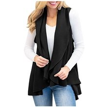 women sleeveless open front vest solid cardigans with pockets #3gray xxl Black,S