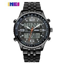 men's analog digital black steel band waterproof led dual time wrist watch (blue) Black