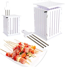 Easy Barbecue Kebab Maker Meat Brochettes Express 36 Skewers Machine BBQ Grill Tools Set Rapid Wear Meat Machine White