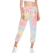 women's tie dye sport capri drawstring workout jogger gradient color sweatpants lounge pants with pockets, blue/navy, size large Picture 1,S