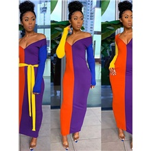 Women's Sheath Dress Maxi long Dress - Long Sleeve Color Block Patchwork Summer V Neck Sexy Party Going out Slim 2020 Rainbow S M L XL XXL Rainbow,S