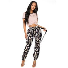 women's high waisted slim fit camoflage camo jogger pants plus size with belt Screen Color,S