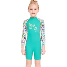 Girls' Rash Guard Dive Skin Suit Diving Suit Breathable Quick Dry Long Sleeve Back Zip - Swimming Surfing Water Sports Patchwork Summer / Stretchy / Kid's Blue,S
