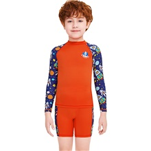 Boys' Rash Guard Dive Skin Suit Diving Suit Breathable Quick Dry Long Sleeve Swimming Surfing Water Sports Patchwork Summer / Stretchy / Kid's Orange,S