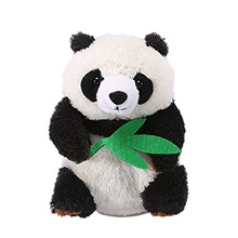 talking panda repeats what you say educational talking toy repeating panda toy gift for kids age 3+ (panda a) Height about 20CM,Bamboo leaf color