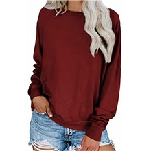womens solid loose crewneck sweatshirt casual long sleeve pullover tops shirt(pink,3xl) Wine Red,S