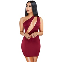 elegant deep v neck one shoulder strap backless club outfits mini dress blue xl Wine Red,S