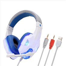 Headset Wired Earphone Gaming Headset PC Luminous Gamer Stereo Headphone Folding Headset White
