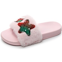 Christmas Women's Slippers / Girls' Slippers House Slippers Stylish / Casual Lamb Fur solid color Shoes Light Pink,CN(36-37) / US6 / EU36 / UK4