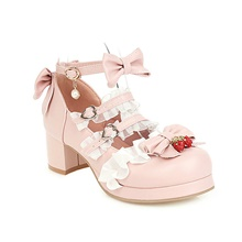 women's strawberry cute lolita cosplay shoes bow mid chunky heel mary jane pumps (4.5, beige) Pink,35