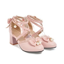 womens lolita bow dorsay pumps cross strap block heel cosplay shoes size 4 m us,white Pink,35