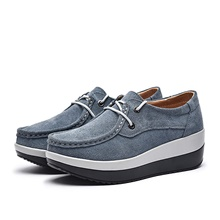 -xj526huise35 women low top suede wedge fashion sneakers moc toe lace up platform oxford shoes grey 5.5 b(m) us Blue gray,35