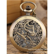 mechanical pocket watches for men, lucky dragon and phoenix, skeleton pocket watch with chain Magpie