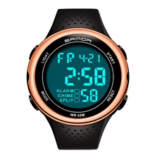 SANDA Men's Digital Watch Digital Sporty Classic Water Resistant / Waterproof Digital Rose Gold Black / Silver Black / Yellow / One Year / Rubber / Japanese Rose Gold