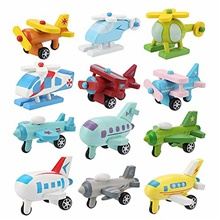 12pcs car toys set, wooden baby toy airplane set, educational preschool toys traffic construction trucks military themed fighter jets airplane toy for toddler boys One-Size