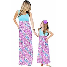 mommy and me fashion floral print sleeveless dress beach party maxi sundress,x-large,mother pink Mom XL