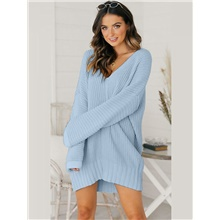sweater dress women casual v-neck long-sleeved shirt oversize solid color tunic jumper sweater mini dress white 44 Sky Blue,XXXL