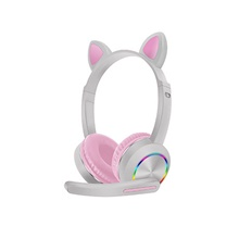AKZ-K23 Bluetooth 5.0 Wireless Headphone Cute Cat Ear Foldable LED Luminous Headset for Women Girls Wireless Bluetooth Headphone Gray Pink